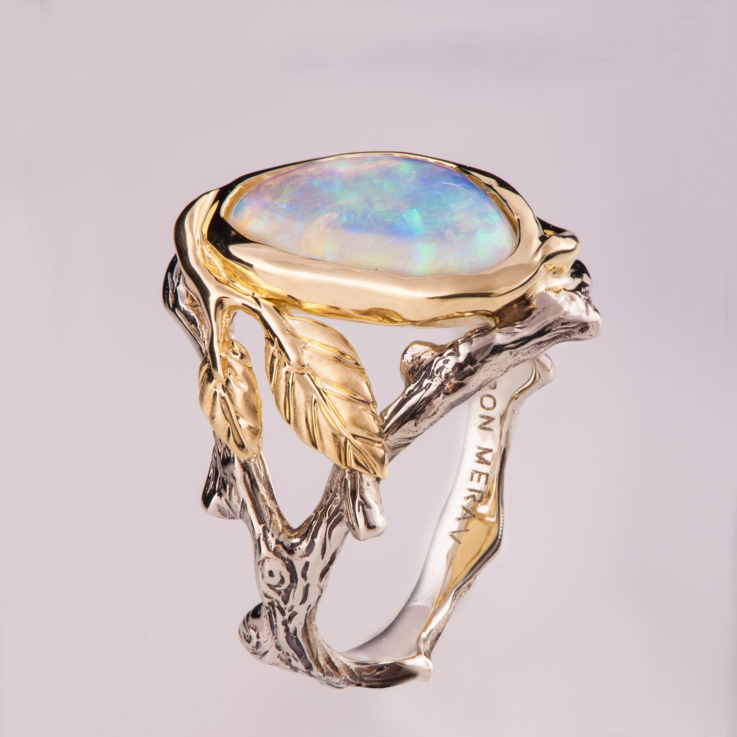 Opal Engagement Rings: Twig And Leaf Engagement Ring Opal Engagement Ring Unique