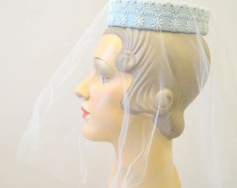 1960s Blue Bridal Ring Hat and Veil