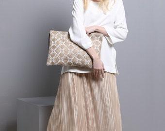 Wristlets Clutch Bag, Women's printed Clutch Jute Burlap Handbag, Eco Friendly Bag