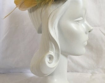 Vintage Art Deco Rhinestone and Feather Hair Fascinator