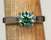 Blue Green Moissanite and 950 Palladium Fine Jewelry Hypoallergenic Trellis Style Engagement Ring 4 Prong Conflict Free