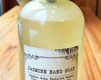 Jasmine Hand Soap - Made with All-Natural Ingredients and Essential Oils