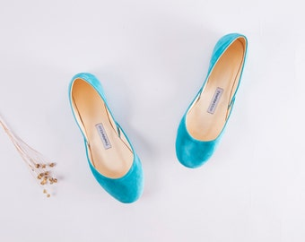 The Suede Ballet Flats in Turquoise | Statement Ballet Flats | Womens Flat Shoes | Made to Order