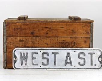 Vintage Street Sign, Old Street Sign, Black White Street Sign, Rustic Decor, West A St, Metal Street Sign, Industrial Decor, Rustic Decor