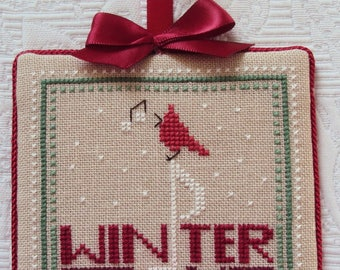Handmade Finished Cross Stitch Christmas Ornament WINTER SONG