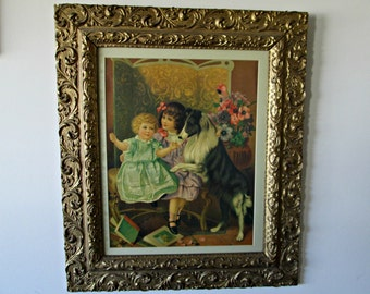 Victorian Children with Collie Framed Print in Antique Frame - Victorian Wall Hanging of Two Girls with Dog - GORGEOUS Vintage Ornate Frame
