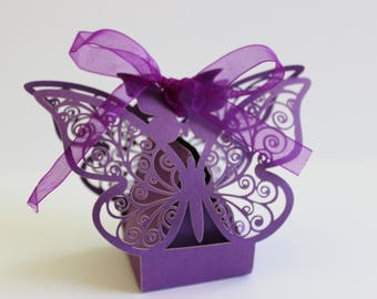 Butterfly Wedding Favor Boxes Laser Cut 10 or 20 DIY Purple Pearlescent  / Weddings / Showers / Anniversary / Parties