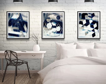 geometric art, contemporary art, blue art, art set, set of 3, tryptic, abstract print set, abstract art set, giclee print,giclee art, art