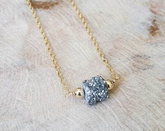 Druzy Necklace, Gold Druzy Necklace, Gold Silver Druzy Necklace, Silver Druzy Necklace, Silver Druzy Gold Necklace, Silver Druzy