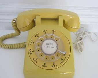 Vintage Bell Yellow Rotary Phone