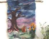 Fox before the storm - Whimsical Felted Wall Hanging. Fox tree sunflower toadstool