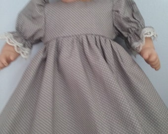 Gray with white dots dress and bloomers for bitty baby american girl doll