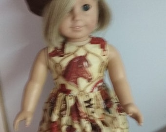 Cowgirl dress boots and hat for american girl 18 inch doll