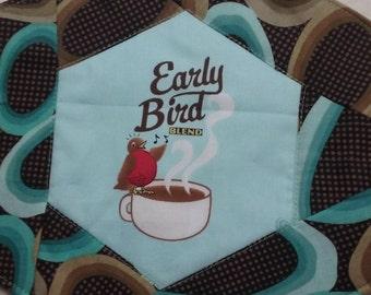 Early Bird mug rug