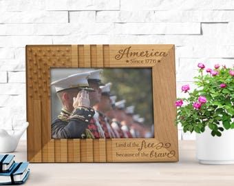 American flag frame, land of the free because of the brave engraved photo frame, US Flag Picture Frame,  US Military Retirement Frame FR0105