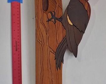 Handmade Wooden Intarsia Woodpecker Wall Art