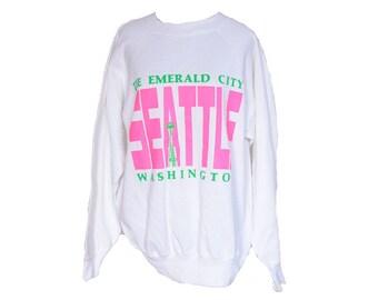 Vintage Seattle Washington Emerald City Sweatshirt Size Large