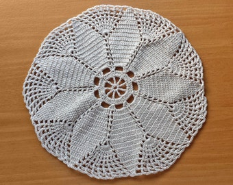 Beautiful Beige Crocheted Doily, Round Crochet Doily, 8.5 inch Doily