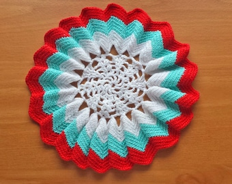 Ruffled Edge Doily, Red, White, and Robin's Egg Bright Blue Doily, 7 inch Crochet Doily with Striped Ruffled Border