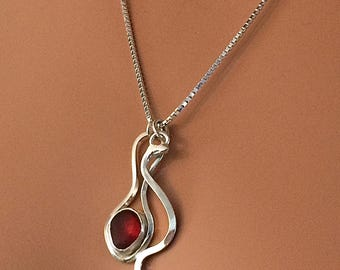 RED DAVENPORT Sea Glass Necklace Argentium® Silver Jewelry