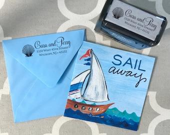Self Inking or Wood Nautical Personalized Custom Return Address Rubber Stamp Nautical Beach ...