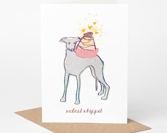 Whippet Card - Walnut Whippet (dog birthday card, funny dog card, cute dog card, blank dog card, foodie card, walnut whip card)