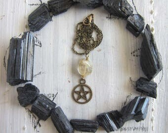 Pentacle Necklace - citrine crystals witchcraft jewelry wiccan amulet pagan pentagram pendant mystical witchy jewelry occult wicca