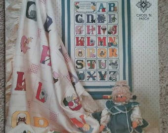 Child's ABC Sampler, Pattern, Cross Stitch,Cross 'N Patch, Alphabet, Hearts, Leaflet,