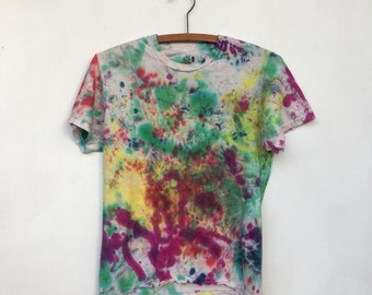 Vintage Distressed Colorful Tie Dyed T Shirt S