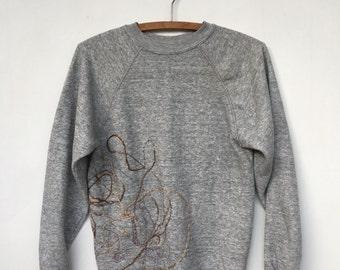 Vintage 80s Heather Gray Embroidered Sweatshirt S
