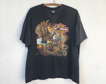 Vintage 80s Harley Davidson Eagle vs Dragon T Shirt X-Large