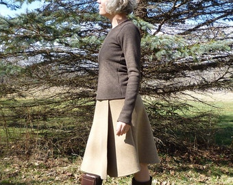 Merino Wool Faux Wrap Skirt Organic Wool Winter Knee Length Skirt New Zealand Merino Sweater Skirt Eco Conscious Clothing Eileen Fisher