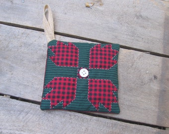 Primitive Christmas Ornament, Red and Green Quilted Ornament, Rustic Ornament, Vintage Fabric Ornament, Hand Quilted Ornament SnowNoseCrafts