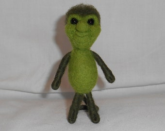 Green Needle Felted Critter Cutie - Gregory - Free Shipping to US and Canada