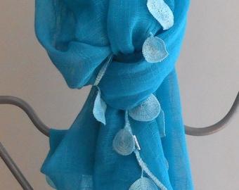 Blue Lace Scarf,Turquoise gauze Shawl,Bridal Scarf, Blue Fashion Scarf,Gauze Scarf, Boho,Gifts For Her,Wedding Shawl,Festival Scarf