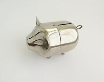 Vintage Piggy Bank Silver Tone Metal