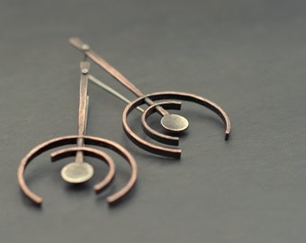 Shadows - Geometric statement earrings, oxidized copper and sterling silver, ancient rock art, petroglyphs, art jewellery