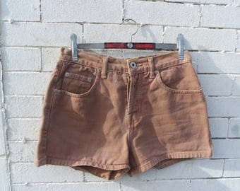 Vintage 90s High Waisted Guess Button Front Camel Colored Denim Jean Shorts- Size S / M