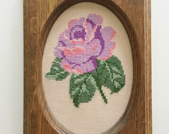 Vintage, Purple rose, hand stitched,framed art, wall art, cross stitch, home decor, Granny Chic, boho style