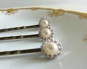 Pearl and Rhinestone Bobbies - Set of 3, Bride, Flower Girl, Wedding Accessory, Hair Accessory, Rehearsal Dinner, Honeymoon:   LJG - BBD-500