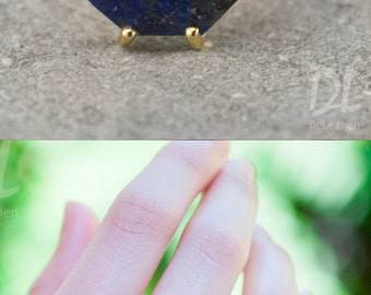 Blue Lapis Lazuli Ring Gold - September Birthstone Ring - Stack Ring - Stackable Birthstone Ring - Gold Ring - Marquise Prong Set Ring