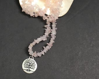 Tree of Life Pendant Necklace Blush Rose Quartz Gems Inspirational Jewelry Pregnancy Heart Chakra Beaded Necklace, Boho Necklace IVF Jewelry