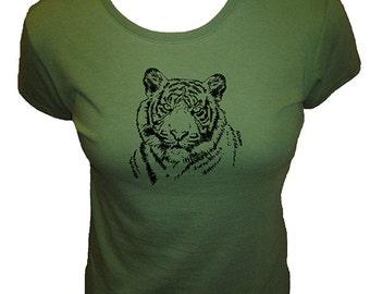 Tiger Tshirt - Big Cat Organic Tshirt Womens Shirt - Tee Shirt - Womens Shirt - Organic Bamboo and Cotton T Shirt - Gift Friendly