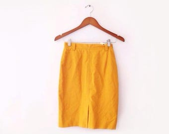 1990s ICEBERG made in italy mustard yellow pencil skirt, size small
