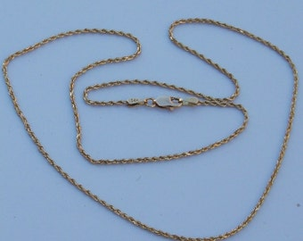 "18"" Solid 14K Yellow Gold Diamond Cut Rope Chain 1.5 mm"