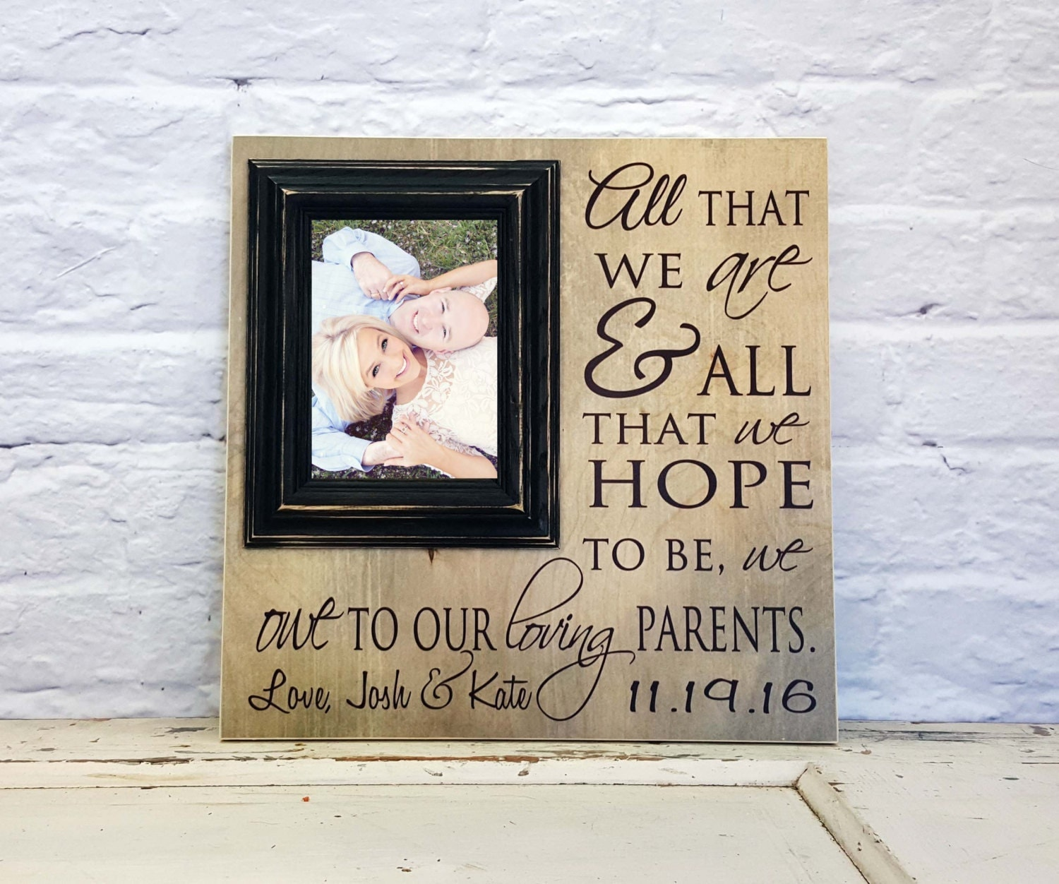 Wedding Gifts For Parents Photo Frames : Wedding Gift for Parents Picture Frame Parents Thank You