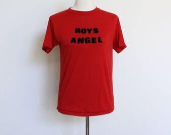 Vintage Thin Tshirt Small // Soft Thin Red T Shirt // Tee 50 50 Small Womens Tee Roys Angel