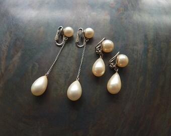 Clip on vintage faux pearl earrings Trifari drop dangle