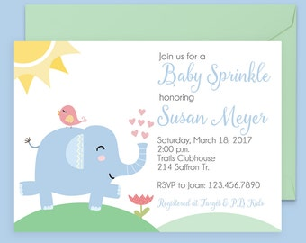 Baby Sprinkle Invitations - Baby Boy Shower Invitations - Elephant Baby Shower Invitations - Printable Baby Shower Invitations