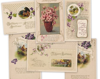 John Winsch Birthday Greetings- 1910s Antique Postcards- SET of 6- Edwardian Birthday Cards- Embossed Floral Postcards- Paper Ephemera